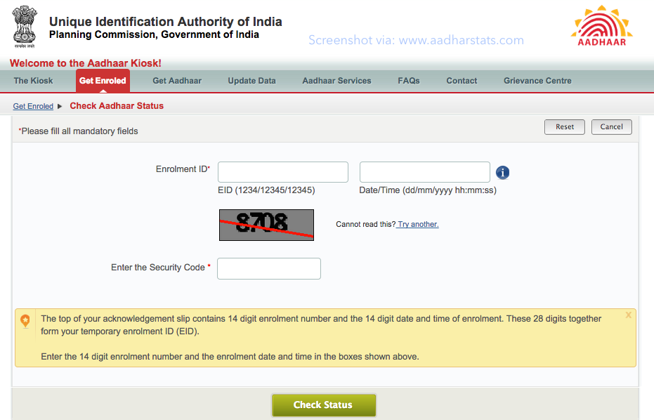 Check AADHAR Card Status Latest